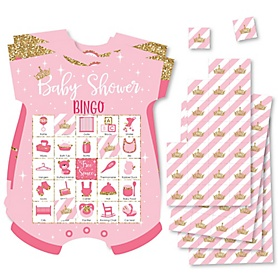 Little Princess Crown - Picture Bingo Cards and Markers - Pink and Gold Princess Baby Shower Shaped Bingo Game - Set of 18