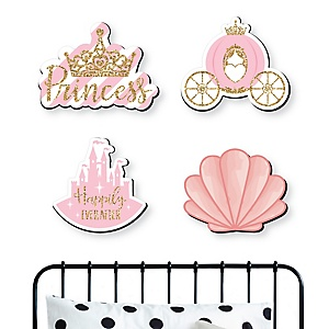 Little Princess Crown - Pink and Gold Nursery and Kids Room Home Decorations - Shaped Wall Art - 4 Piece