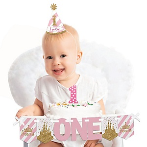Little Princess Crown 1st Birthday - First Birthday Girl Smash Cake Decorating Kit - Pink and Gold Princess High Chair Decorations