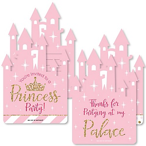 Little Princess Crown - 20 Shaped Fill-In Invitations and 20 Shaped Thank You Cards Kit - Pink and Gold Princess Baby Shower or Birthday Party Stationery Kit - 40 Pack