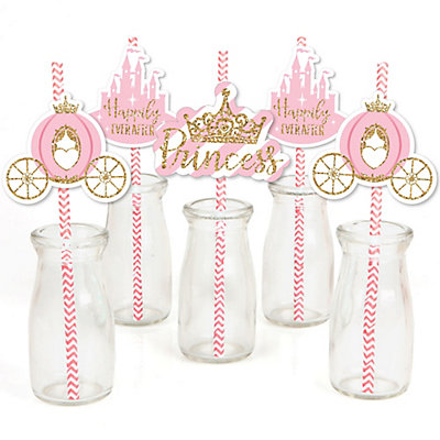 Little Princess Crown Paper Straw Decor Pink And Gold Princess