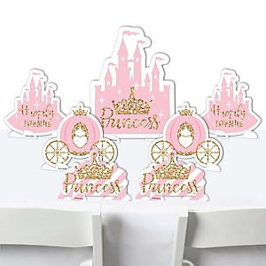 Little Princess Crown - Pink and Gold Princess Baby Shower or Birthday Party Centerpiece Table Decorations - Tabletop Standups - 7 Pieces