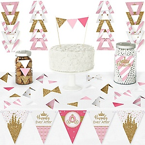 Little Princess Crown - DIY Pennant Banner Decorations - Pink and Gold Princess Baby Shower or Birthday Party Triangle Kit - 99 Pieces