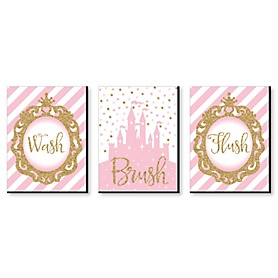 Little Princess Crown - Kids Bathroom Rules Wall Art - 7.5 x 10 inches - Set of 3 Signs - Wash, Brush, Flush