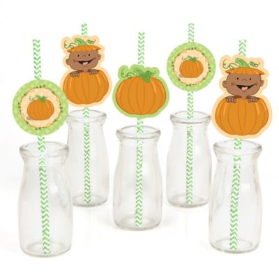 Little Pumpkin African American   Paper Straw Decor   Baby Shower Or  Birthday Party Striped Decorative Straws   Set Of 24