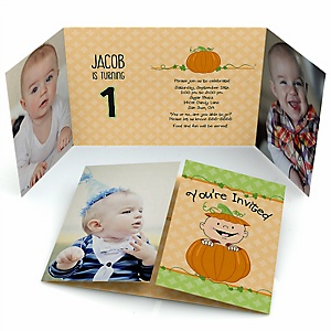 Little Pumpkin - Personalized Fall Birthday Party Photo Invitations - Set of 12