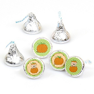 Little Pumpkin - 108 Round Candy Labels Party Favors - Fits Hershey Kisses