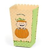 Little Pumpkin Caucasian - Personalized Party Popcorn Favor Treat Boxes