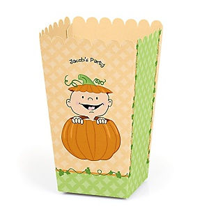 Little Pumpkin Caucasian - Personalized Party Popcorn Favor Treat Boxes