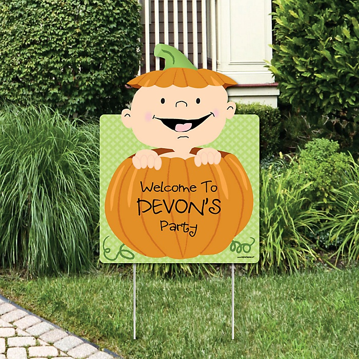 Little Pumpkin - Party Decorations - Baby Shower or Birthday Party Personalized Welcome Yard Sign