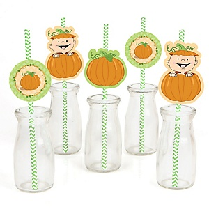 Little Pumpkin - Paper Straw Decor - Baby Shower or Birthday Party Striped Decorative Straws - Set of 24