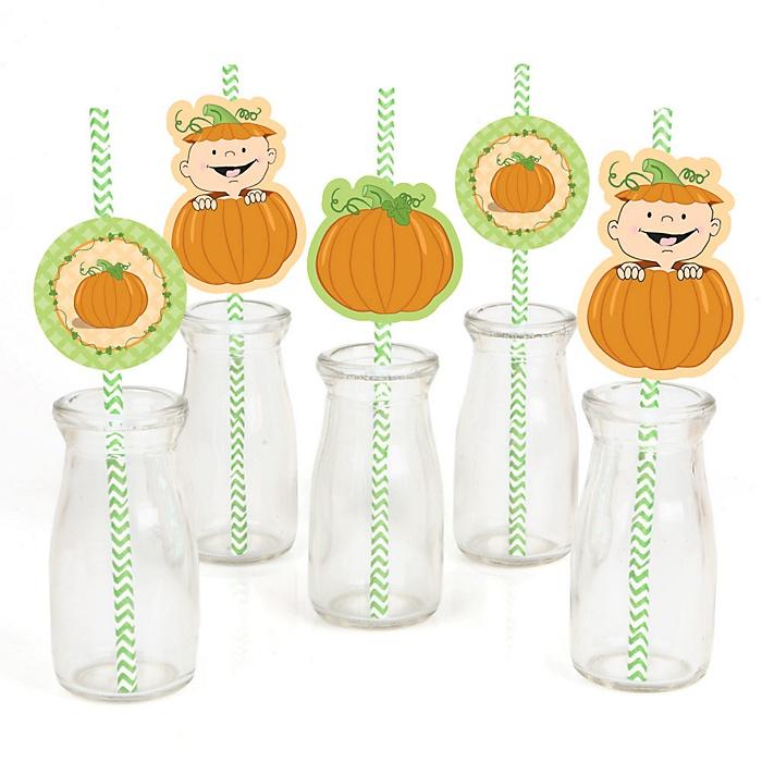 Little Pumpkin - Paper Straw Decor - Baby Shower or Birthday Party Striped Decorative Straws - Set of 24