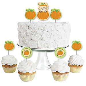Little Pumpkin - Dessert Cupcake Toppers - Baby Shower or Birthday Party Clear Treat Picks - Set of 24