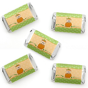 Little Pumpkin - Mini Candy Bar Wrapper Stickers - Fall Baby Shower or Birthday Party Small Favors - 40 Count