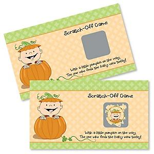 Little Pumpkin - Baby Shower Game Scratch Off Cards - 22 ct
