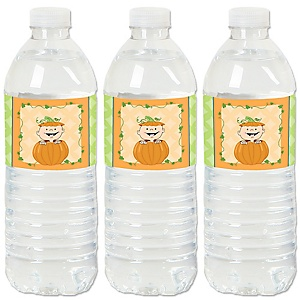 Little Pumpkin - Fall Baby Shower or Birthday Party Water Bottle Sticker Labels - Set of 20