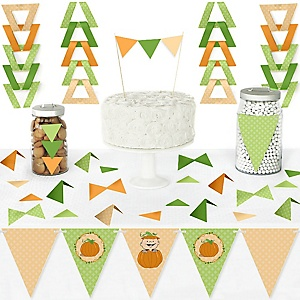 Little Pumpkin - DIY Pennant Banner Decorations - Fall Baby Shower or Birthday Party Triangle Kit - 99 Pieces