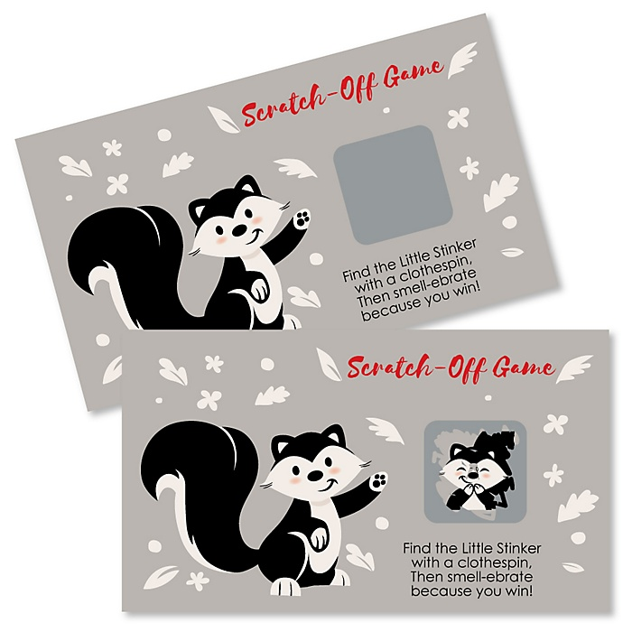 Little Stinker - Woodland Skunk - Party Game Scratch Off Cards - 22 ct