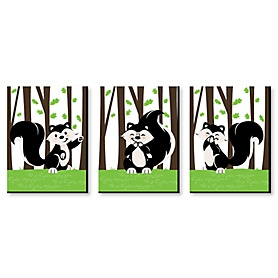 Little Stinker - Woodland Skunk Nursery Wall Art and Kids Room Decor - 7.5 x 10 inches - Set of 3 Prints