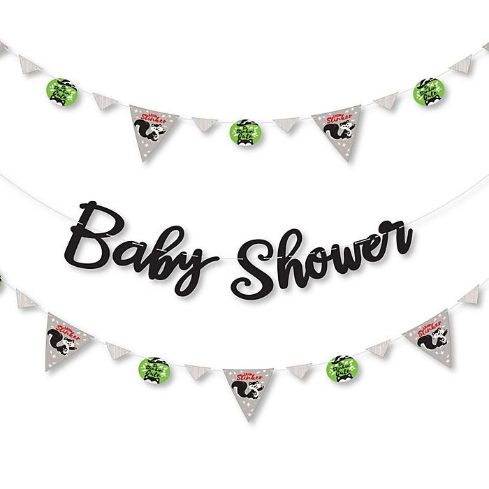 Little Stinker - Woodland Skunk - Baby Shower Letter Banner Decoration - 36 Banner Cutouts and Baby Shower Banner Letters