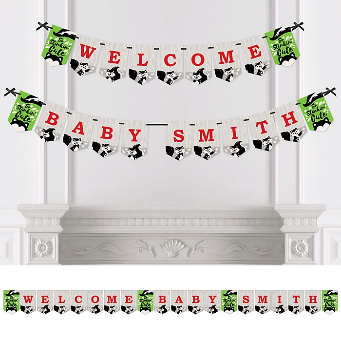 Little Stinker - Personalized Woodland Skunk Baby Shower Bunting Banner and Decorations