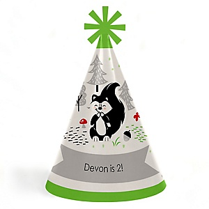 Little Stinker - Woodland Skunk - Personalized Cone Happy Birthday Party Hats for Kids and Adults - Set of 8 (Standard Size)