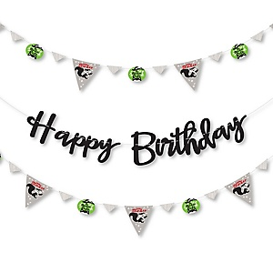 Little Stinker - Woodland Skunk - Birthday Party Letter Banner Decoration - 36 Banner Cutouts and Happy Birthday Banner Letters