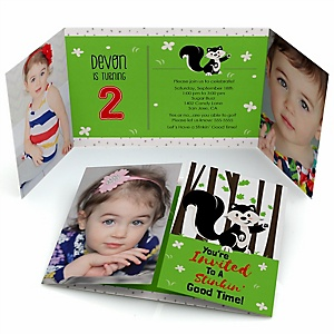 Little Stinker - Personalized Woodland Skunk Birthday Party Photo Invitations - Set of 12