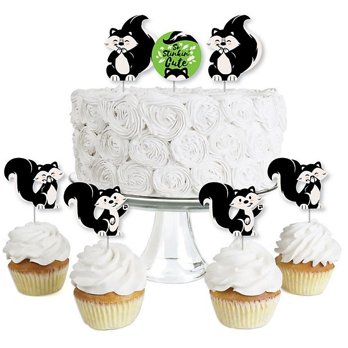 Little Stinker - Dessert Cupcake Toppers - Woodland Skunk Baby Shower or Birthday Party Clear Treat Picks - Set of 24