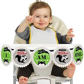 Little Stinker - Woodland Skunk 1st Birthday - I am One - First Birthday High Chair Banner