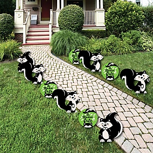 Little Stinker - Lawn Decorations - Outdoor Woodland Skunk Baby Shower or Birthday Party Yard Decorations - 10 Piece