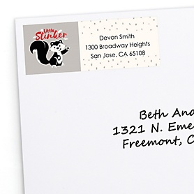 Little Stinker - Personalized Woodland Skunk Baby Shower or Birthday Party Return Address Labels - 30 ct