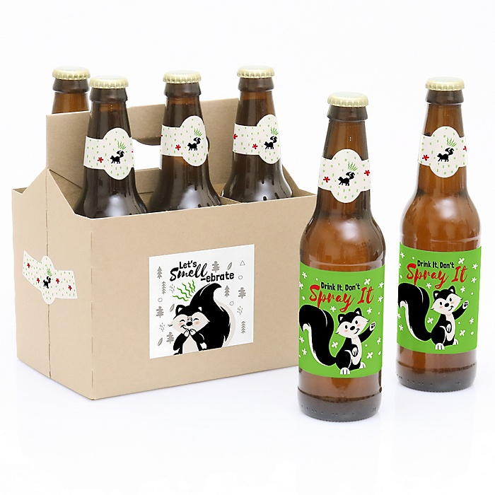 Little Stinker - Woodland Skunk - Decorations for Women and Men - 6 Baby Shower or Birthday Party Beer Bottle Label Stickers and 1 Carrier