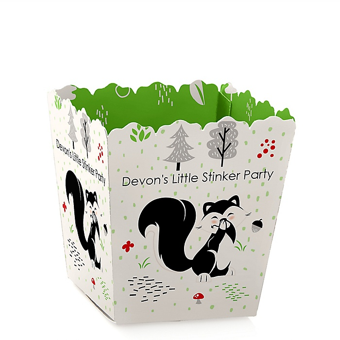 Little Stinker - Party Mini Favor Boxes - Personalized Woodland Skunk Baby Shower or Birthday Party Treat Candy Boxes - Set of 12