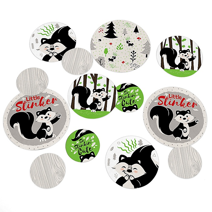 Little Stinker - Woodland Skunk Baby Shower or Birthday Party Giant Circle Confetti - Party Decorations - Large Confetti 27 Count