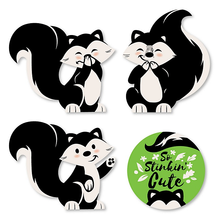 Little Stinker - DIY Shaped Woodland Skunk Baby Shower or Birthday Party Cut-Outs - 24 ct