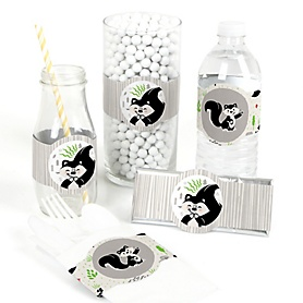 Little Stinker - DIY Party Supplies - Woodland Skunk Baby Shower or Birthday Party DIY Wrapper Favors and Decorations - Set of 15