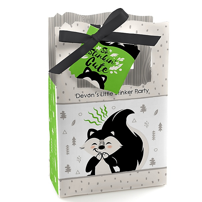 Little Stinker - Personalized Woodland Skunk Baby Shower or Birthday Party Favor Boxes - Set of 12
