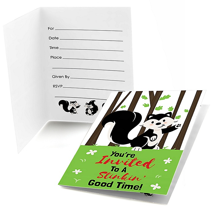 Little Stinker - Woodland Skunk - Fill In  Baby Shower or Birthday Party Invitations  - 8 ct