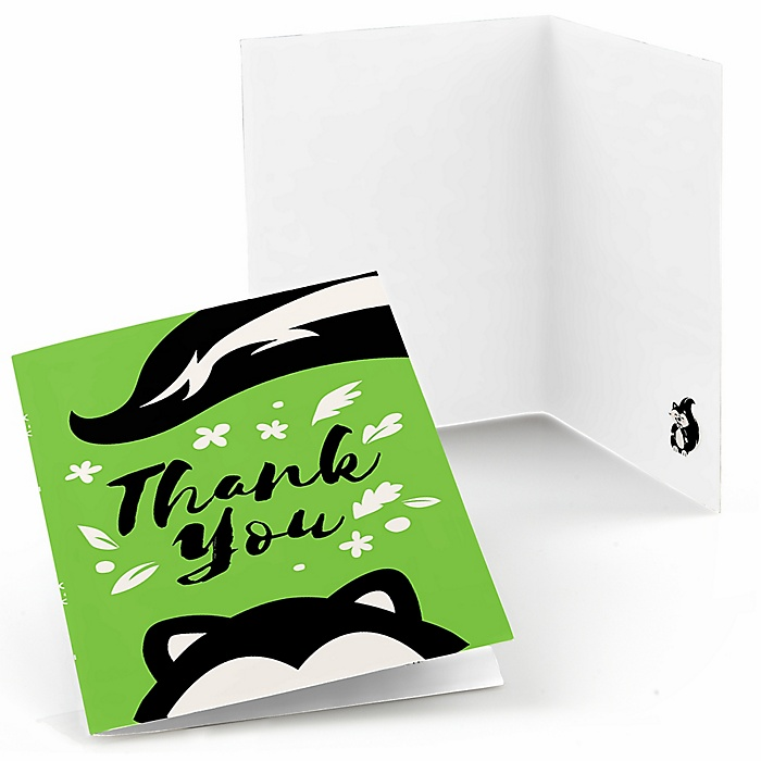 Little Stinker - Woodland Skunk -  Baby Shower or Birthday Party Thank You Cards  - 8 ct