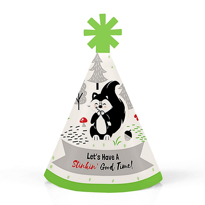 Little Stinker - Woodland Skunk - Personalized Mini Cone Baby Shower or Birthday Party Hats - Small Little Party Hats - Set of 10