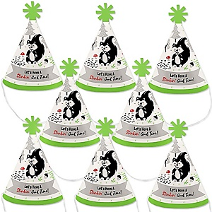 Little Stinker - Woodland Skunk - Mini Cone Baby Shower or Birthday Party Hats - Small Little Party Hats - Set of 8