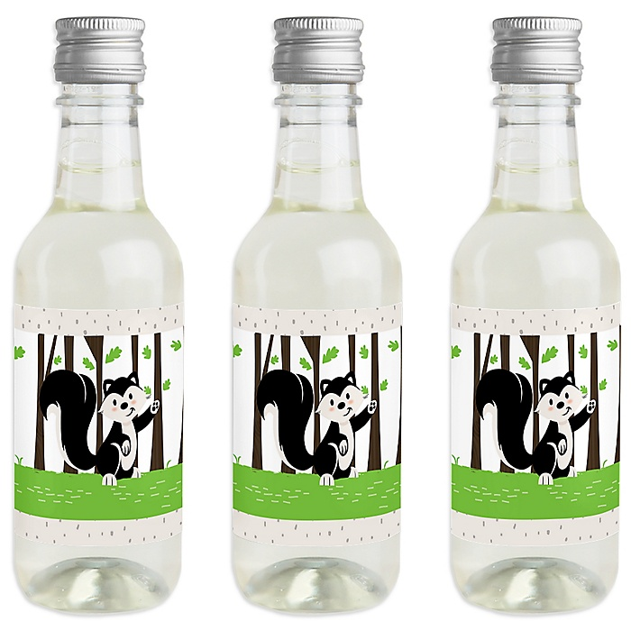 Little Stinker - Mini Wine and Champagne Bottle Label Stickers - Woodland Skunk Baby Shower or Birthday Party Favor Gift - For Women and Men - Set of 16