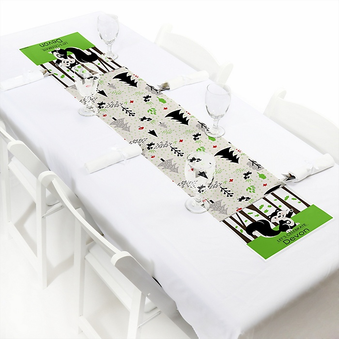 Little Stinker - Personalized Woodland Skunk Baby Shower or Birthday Party Petite Table Runner