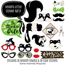 Little Stinker - 20 Piece Woodland Skunk Baby Shower or Birthday Party Photo Booth Props Kit