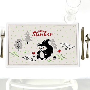 Little Stinker - Party Table Decorations - Woodland Skunk Baby Shower or Birthday Party Placemats - Set of 12