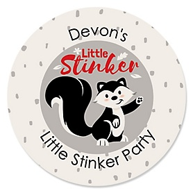 Little Stinker - Personalized Woodland Skunk Baby Shower or Birthday Party Sticker Labels - 24 ct