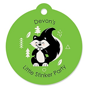 Little Stinker - Round Personalized Woodland Skunk Baby Shower or Birthday Party Tags - 20 ct