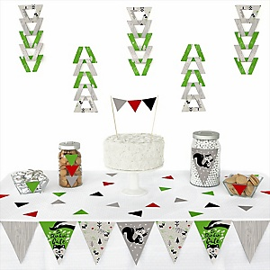 Little Stinker - Triangle Woodland Skunk Baby Shower or Birthday Party Decoration Kit - 72 Piece