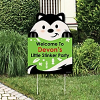 little stinker party decorations woodland skunk baby shower or birthday party personalized welcome yard sign
